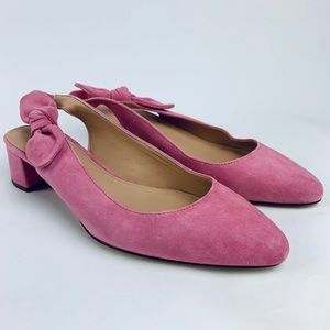 J.CREW Pink LEATHER SUEDE Slingback Bow 9 Pumps